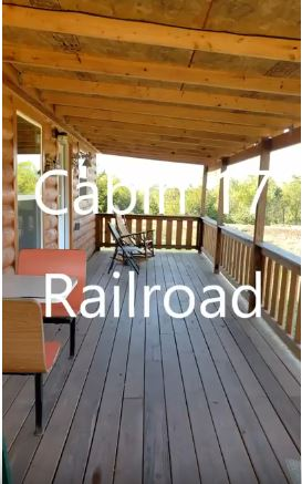 DELUXE CABIN # 17 - $165/ 2 people, $15 each additional – (Yogi Cabin, Railroad themed) 2 full beds, 1 queen bed. Full kitchen, 32' deck. Handicap accessible.