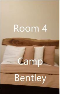 ROOM # 4 – $60/1 person, $15 each additional – Located in Main Lodge – (Camp Bentley) Single unit/ 3 full beds. (Can be rented with adjoining door to Room # 5 to make 3 bedrooms/2 baths for $115/ 2 people - $15 for each additional)