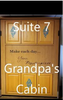 SUITE # 7 - (THIS IS NOT A CABIN -IT IS A SUITE IN THE MAIN LODGE)  $115/ 2 people, $15 each additional – Ground floor Main Lodge –Grandpa's Cabin – Barn Themed - Full kitchen, 2 full beds, queen murphy bed, 2 queen sofa sleepers. Can be used as reception hall, seat 30-40 people. Add $100 for events.